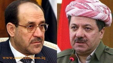 نوري المالكي ورئيس اقليم كردستان مسعود بارزاني